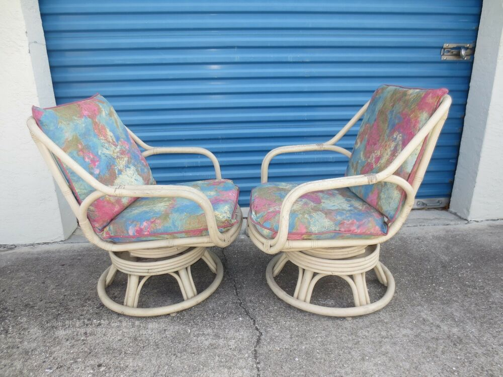 Pair Bamboo Swivel Lounge Chairs 2 Clam Hollywood Regency Rattan MCM Patio TLC | eBay