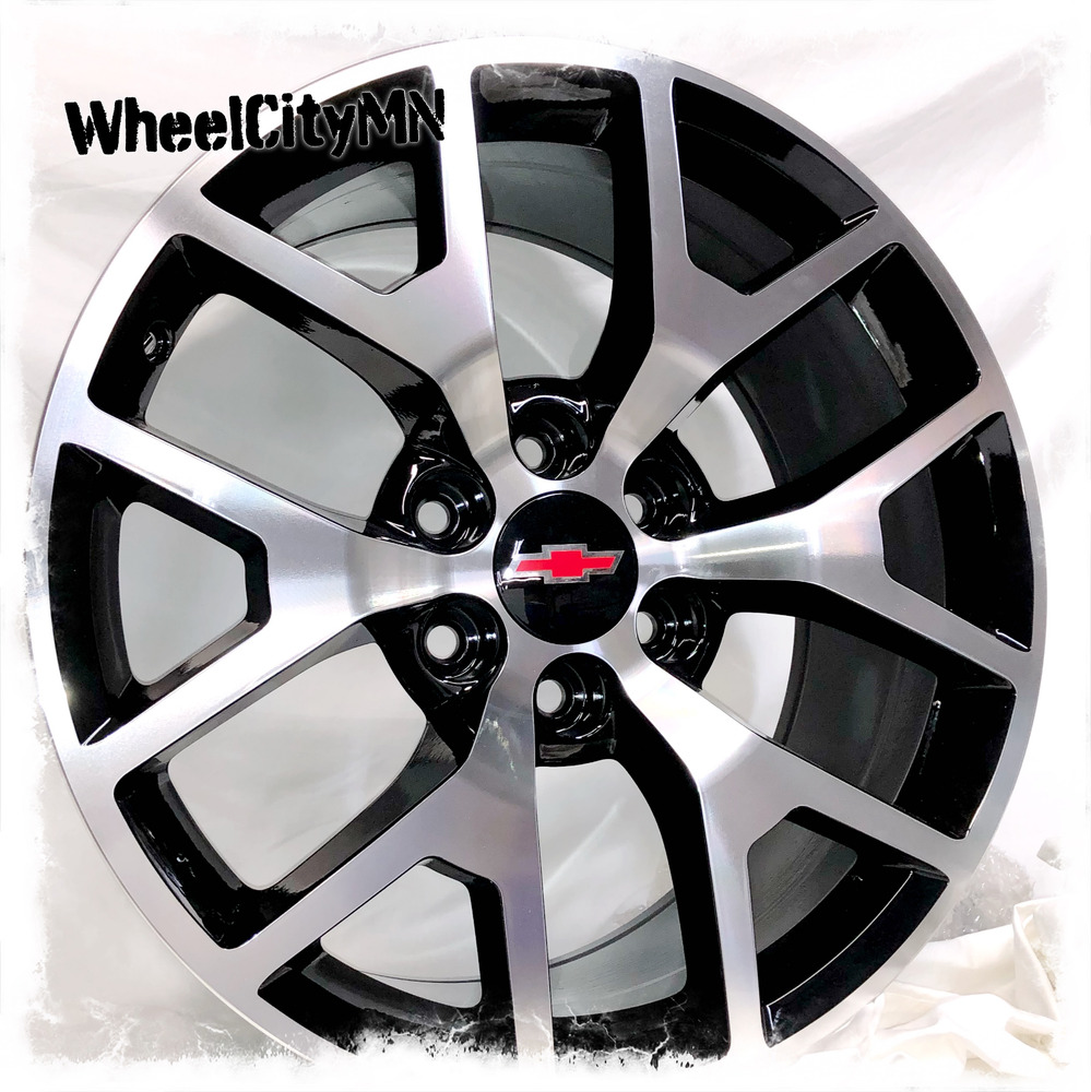 20 Inch Black Machine 2016 Gmc Denali Oe Replica Rims Fits Chevy Silverado 6x5 5 Ebay