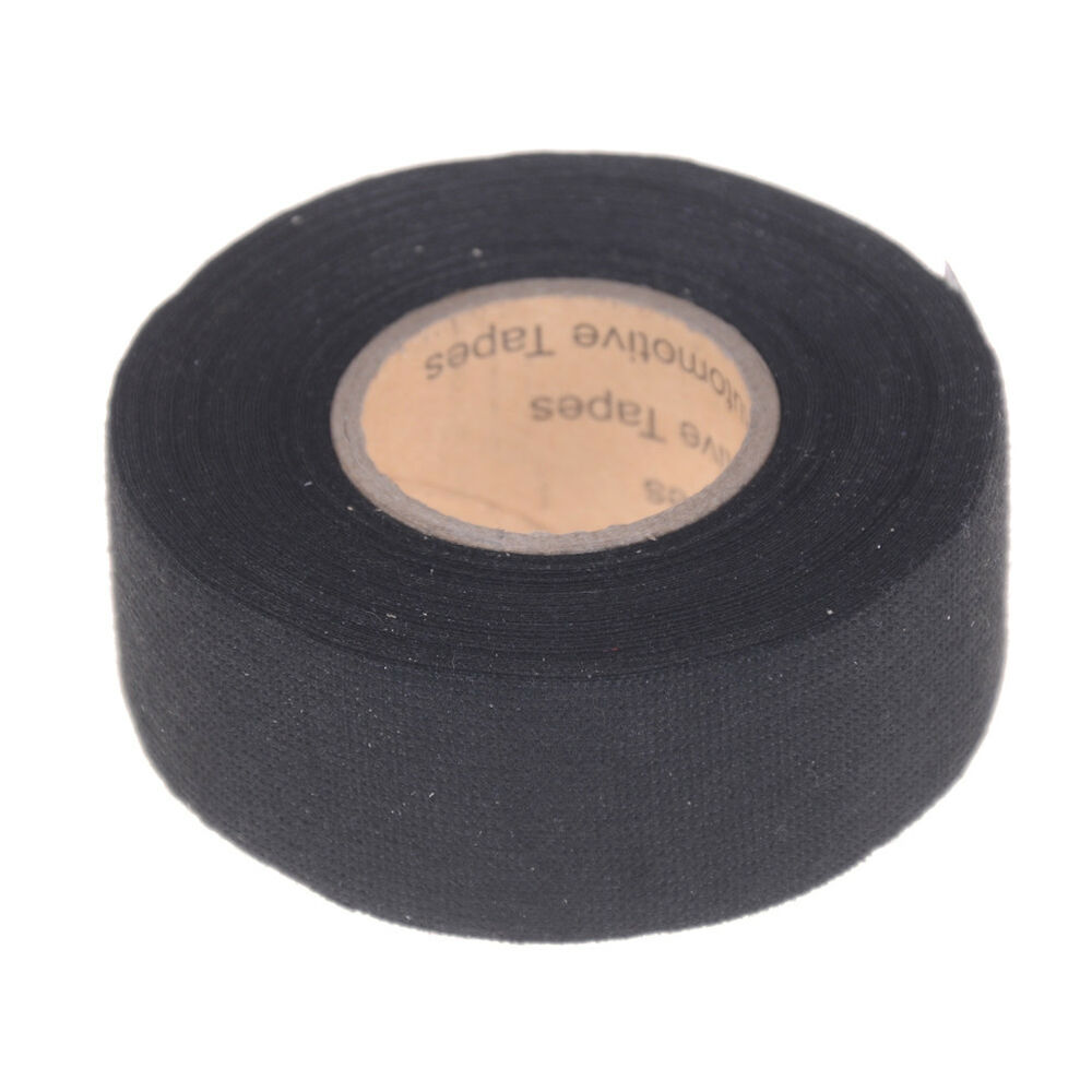 Black 32mm*12m Adhesive Cloth Fabric Tape Cable Looms Wiring Harness on wheel tape, tail light tape, hose tape, washi tape, wire loom clips, muffler tape,