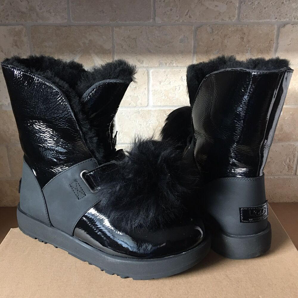 f197a4248d4 UGG ISLEY PATENT LEATHER BLACK WATERPROOF POM POM SHORT BOOTS SIZE ...