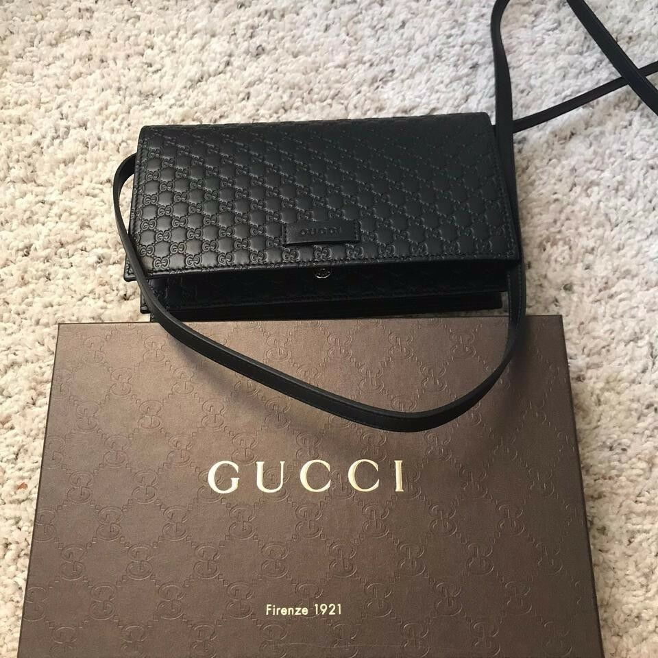 aa0ecb255ec Details about BRAND NEW Gucci Guccissima GG Leather Crossbody Wallet Bag  Purse BLACK