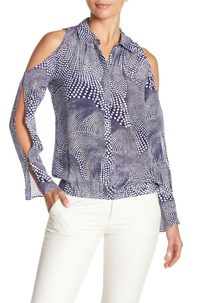 0fbf6947cd65e Details about Ramy Brook Womens Hazel Printed Silk Cold Shoulder Top Blouse  Size S