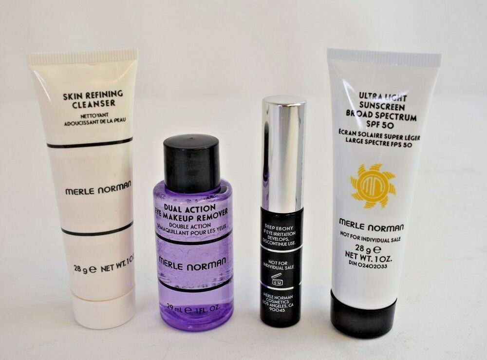 Details about Merle Norman Sample Cosmetics LOT Makeup Remover, Cleanser, SPF 50, Mascara