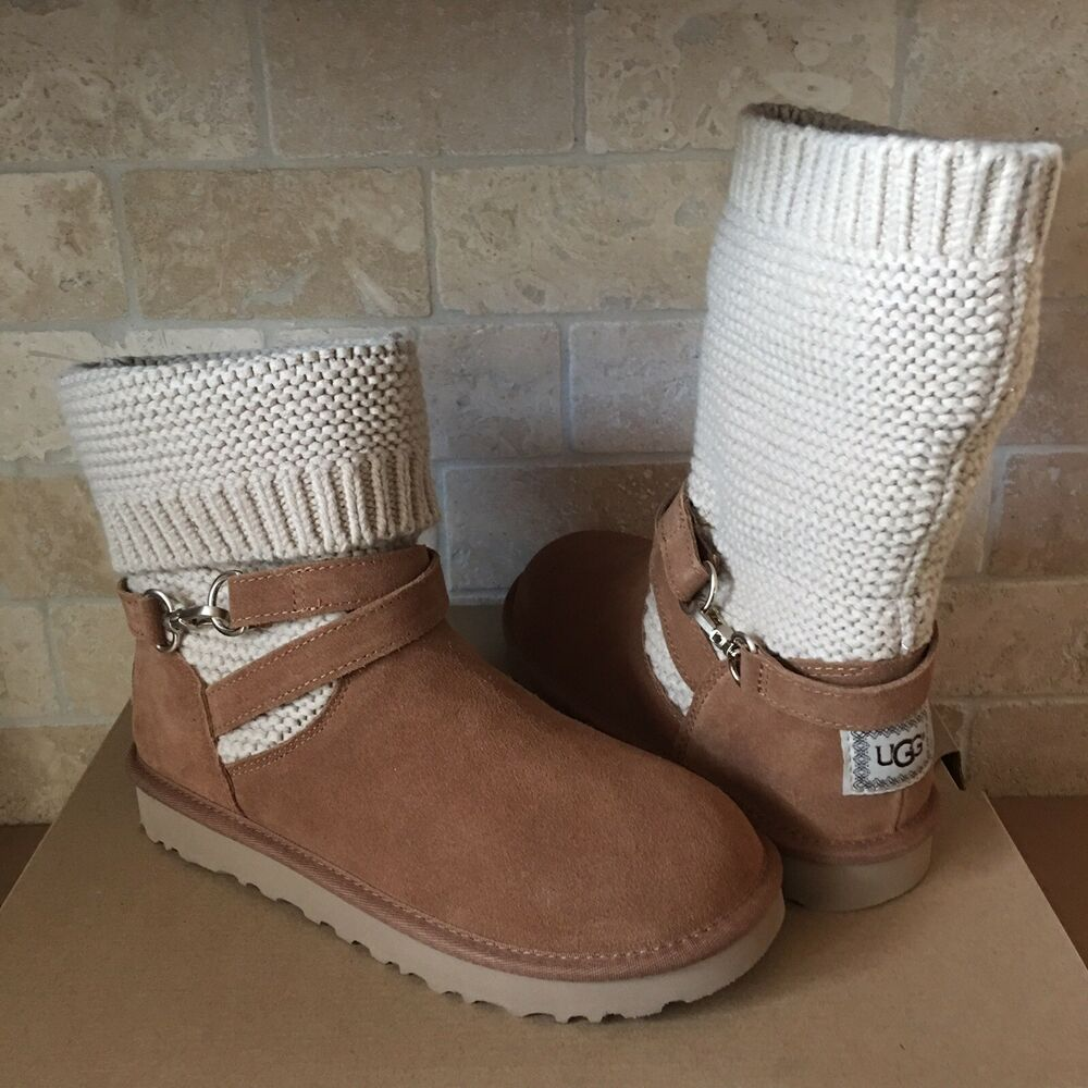8b4c82b4a25 UGG Purl Knit Strap Suede Chestnut Convertible Short Ankle Boots Size 8  Womens | eBay