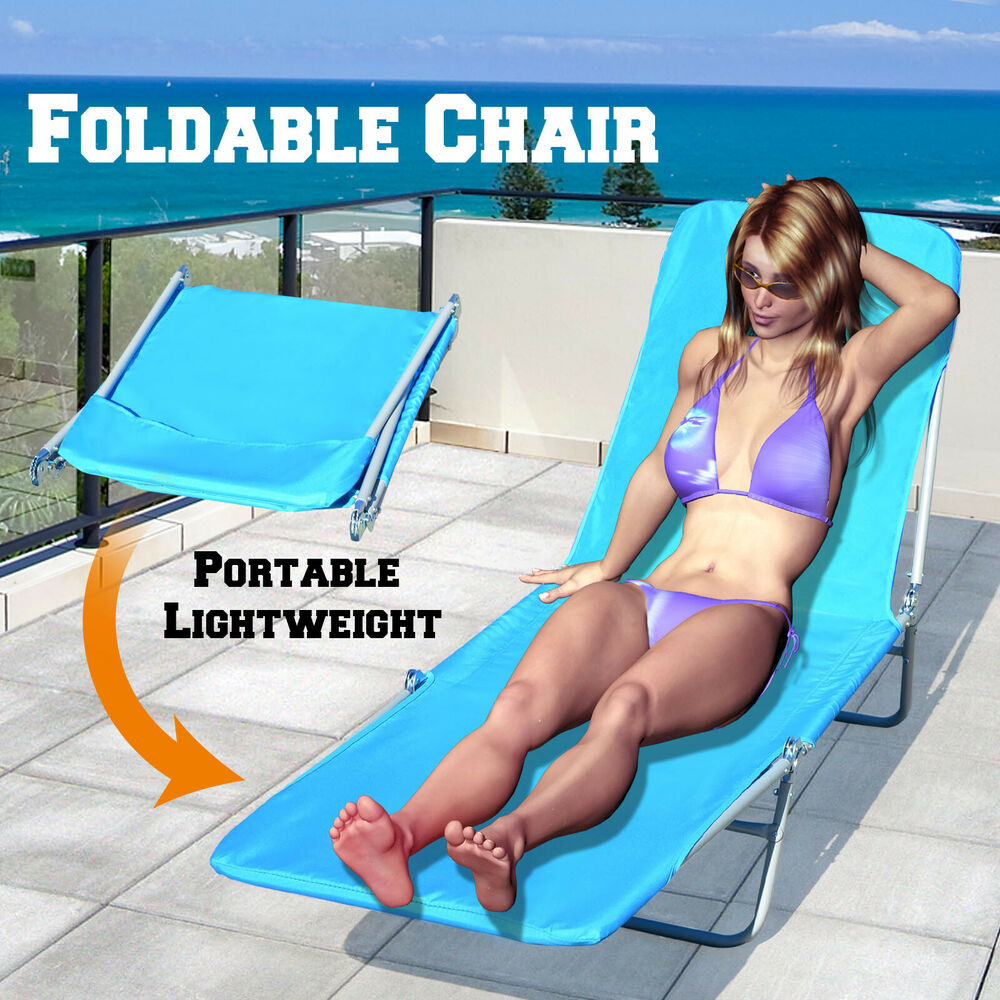 Outdoor Folding Reclining Beach Sun Patio Chaise Lounge Chair Pool Lawn Lounger Black Patio Seating Chairs