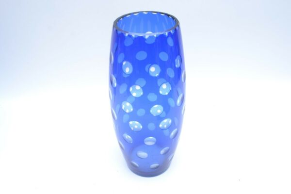 Stunning Antique  Bohemian Cobalt Blue Flashed Cut To Clear Lens Glass Vase