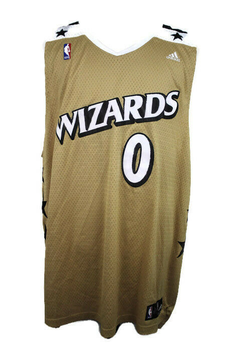 dd65cdb79 Details about VTG Gilbert Arenas Washington Wizards NBA Jersey Gold Stars  Agent 0 Adidas 3XL