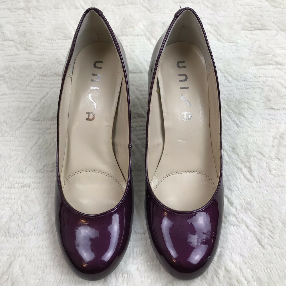 e837a4b41 Details about Unisa Pumps Women s 7.5M Dark Purple Round Toe Shiny Patent  Classics Heels Shoes