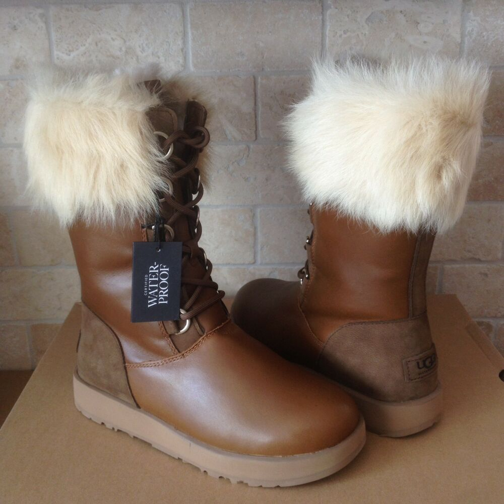 48383663b3a UGG AYA Chestnut Waterproof Leather Fur Toscana Cuff Snow Boots Size 7  Womens | eBay