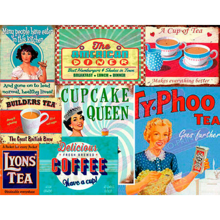 img-Vintage Retro Diner Cafe Restaurant Advertisement Metal Wall Signs and Plaques