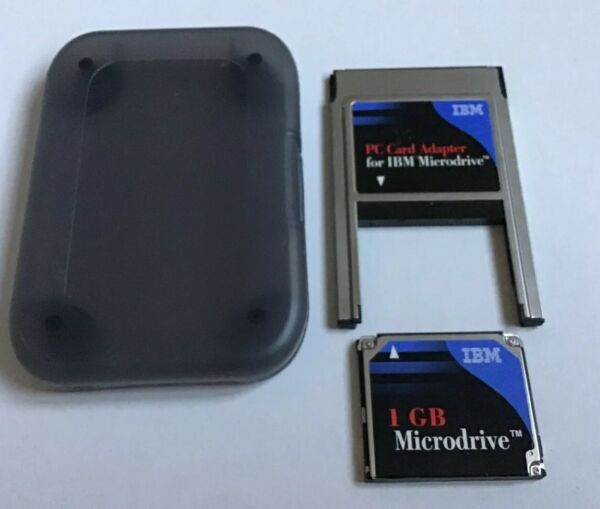 IBM 1GB Microdrive Compact Flash II Hard Disc  + PCMCIA Pc Card Reader adapter