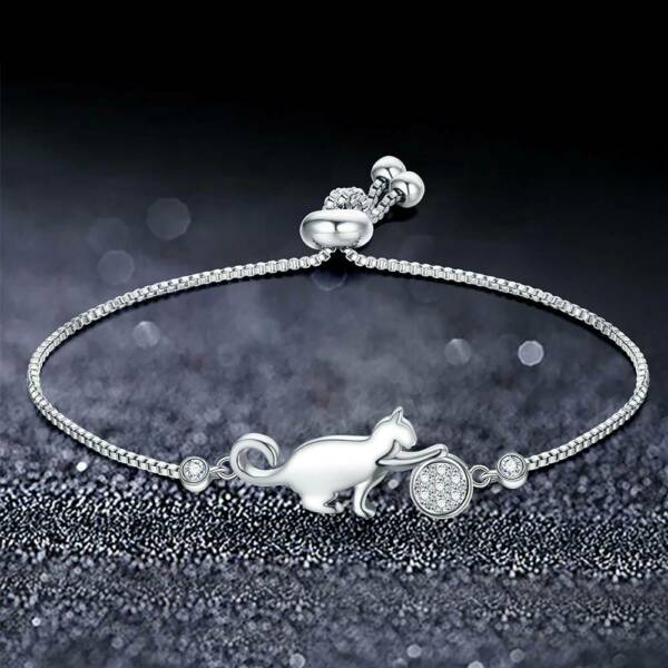 Cute Cat Adjustable Charm Bracelet Clear Cubic Zirconia Bangle Girl Jewelry Gift