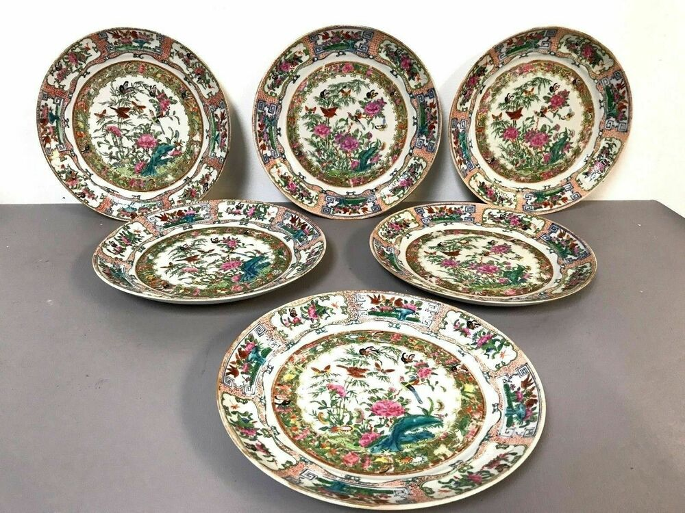 Details About Set Of 6 Fine 19th Century Chinese Porcelain Rose Medallion Dinner Plates