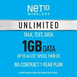 Kyпить Net10 Prepaid Wireless Phone Plan + SIM - Unlimited Talk & Text 1GB per Month на еВаy.соm