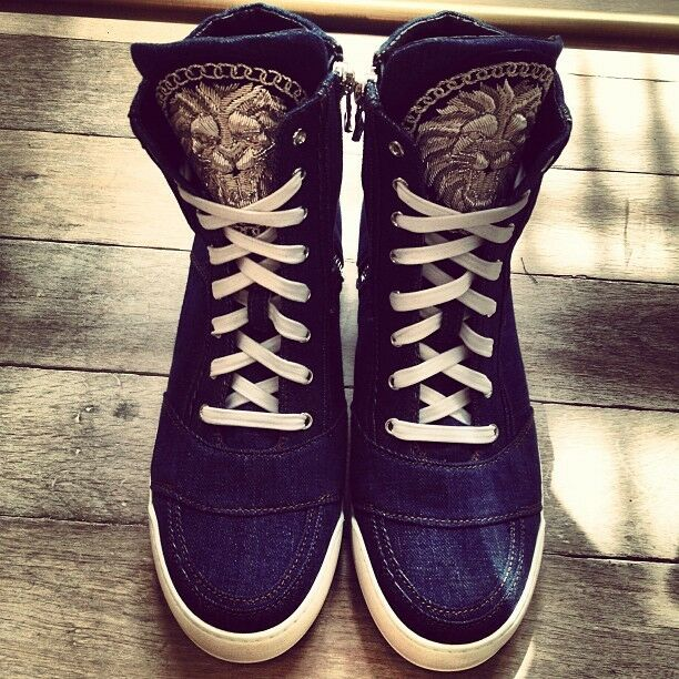 8f5aa500cf8 Details about Balmain - Embroidered Denim High Top Sneakers Trainers - EU42  UK8 - SS14 - BNIB