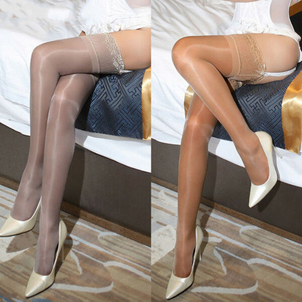 Women Oil Shiny Glossy High-Stockings Lace Silicone Stay Up Thigh-Highs Hosiery<