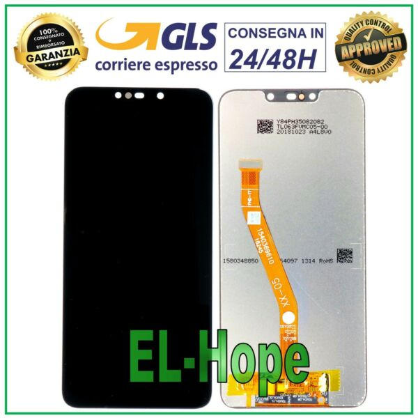 LCD DISPLAY HUAWEI MATE 20 LITE SNE-LX1 SNE-AL00 TOUCH SCREEN SCHERMO VETRO NERO