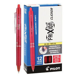 Pilot FriXion Clicker Erasable Gel Pens, 0.7 mm, Red, Pack of 12 Free Shipping