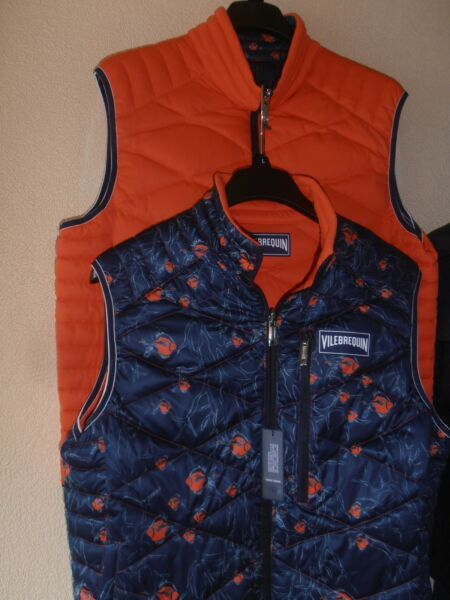 Vilebrequin Gilet/Bodywarmer/Doudoune Reversible Orange/Navy Fish XL Duck & Down