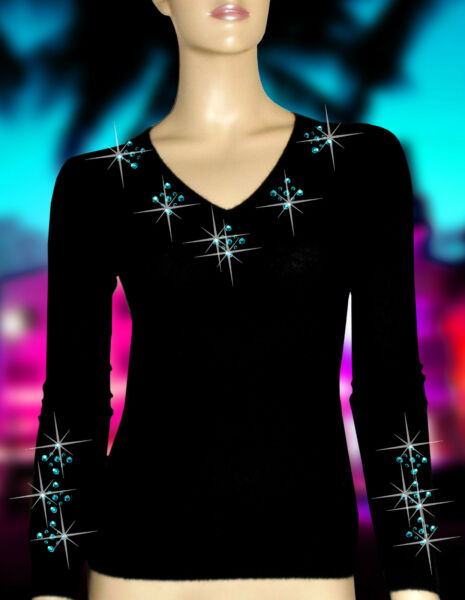 Luxe Oh ` Dor 100% Cachemire Col V Pull Miami Noir Turquoise 48 XL