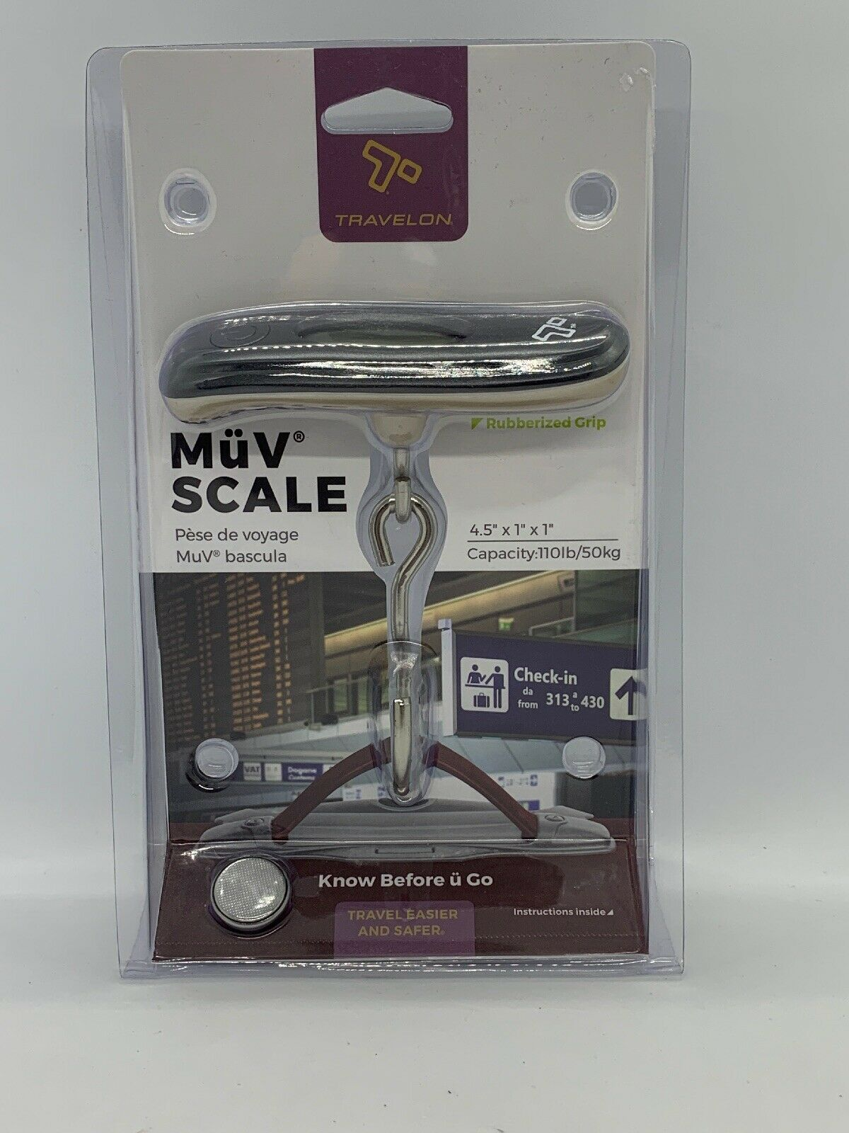 One Size Sky//Silver Travelon Get a Grip Compact Scale