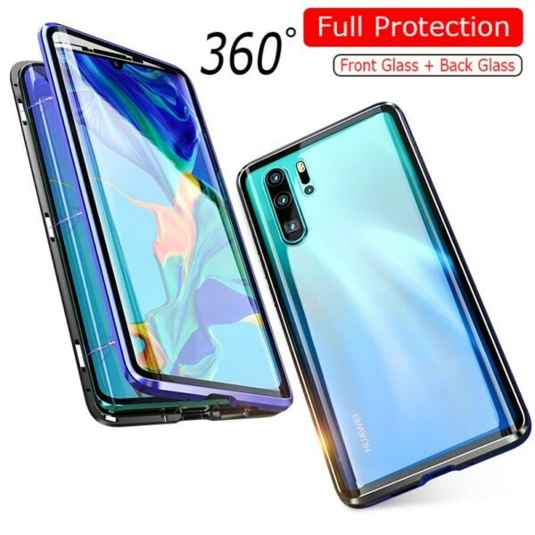 Case For Huawei P30 Pro P20 Mate 20 Magnetic Adsorption Double Sides Glass Cover