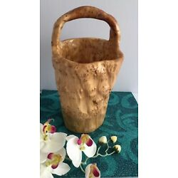 HAND CARVED SHAN MU TREE BURL ROOT WOODEN BASKET BUCKET size M 708