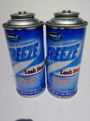 2 Cans Johnsen's FREEZE Stop Leak With Leak Detector R134a Refrigerant 3 oz can