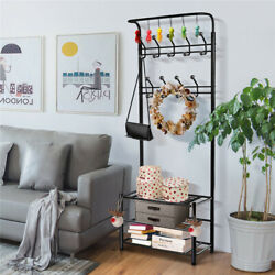 Entryway Hall Tree Coat Rack Shoe Bench 18 Hooks Clothes Shoes Hats Stand Rack