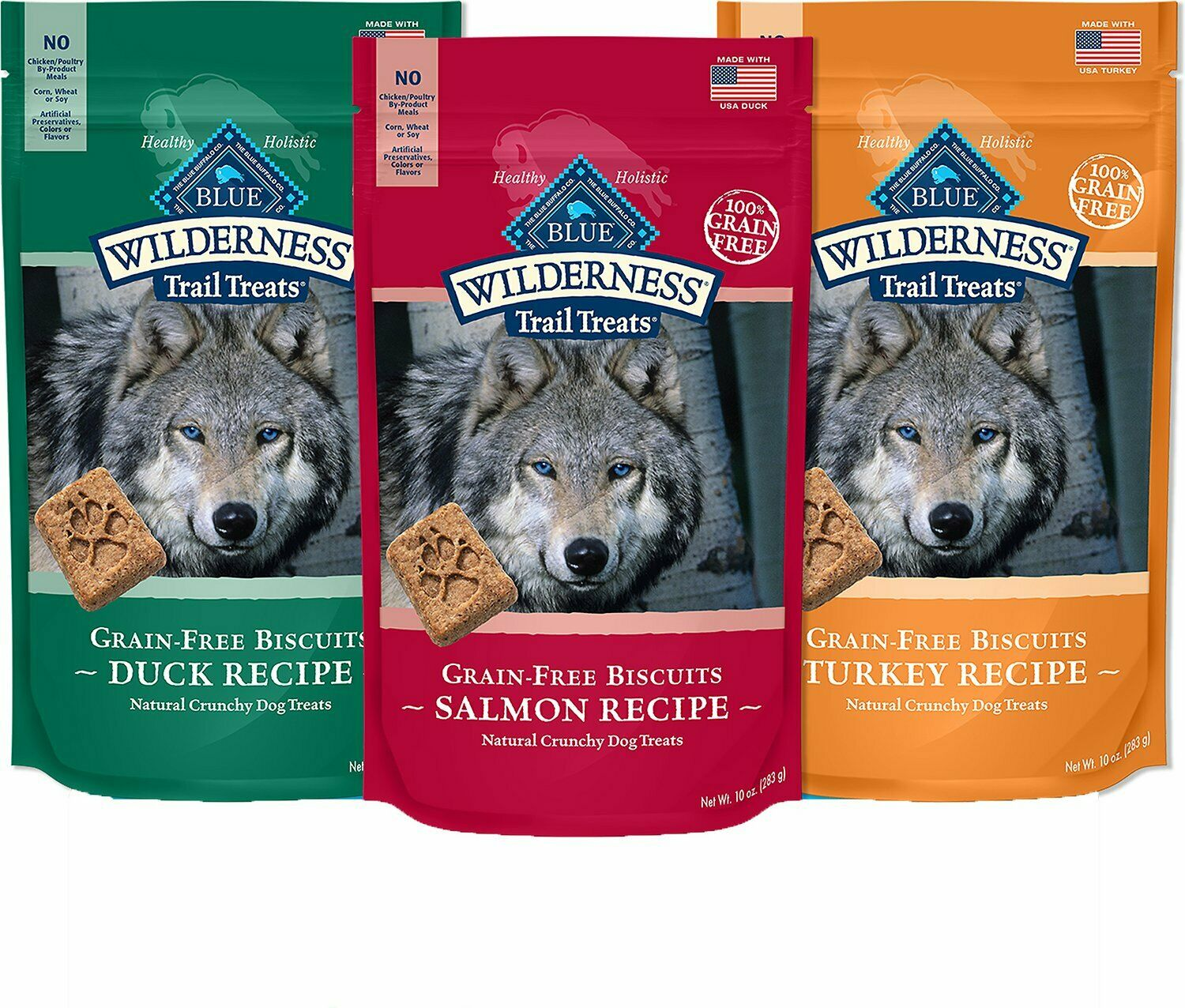 Blue Buffalo Wilderness Trail Biscuits Grain-free Dog Treats Free Shipping