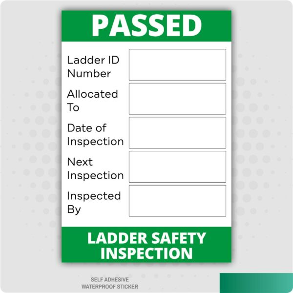 Ladder Safety Inspection Self Adhesive Vinyl Stickers Health & Safety Business