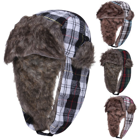 img-Unisex Mens Hat Winter Warm Fur Lined Lumberjack Ladies Trapper Cap Hats New