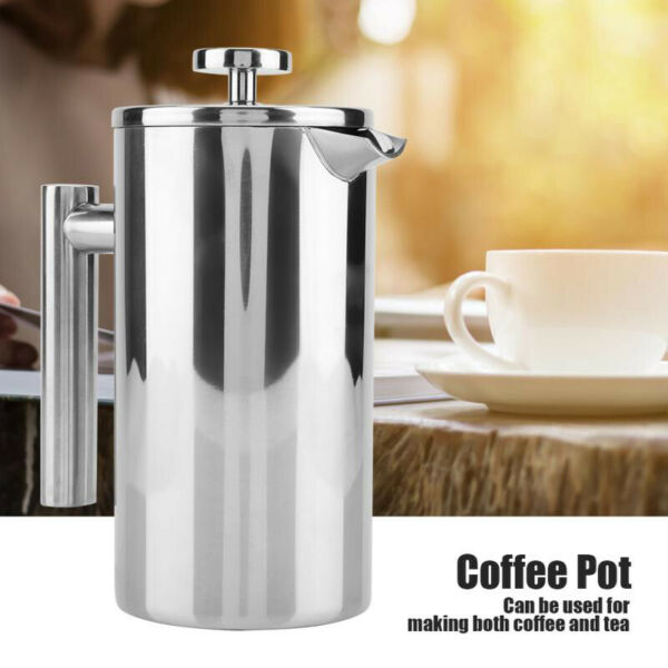 Edelstahl Kaffeebereiter French Press Filter Tee Kaffeekanne 350/800/1000ML