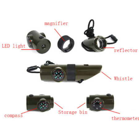 img-Military Emergency Survival Whistle Kit Compass Led Light Thermomet Tool wr