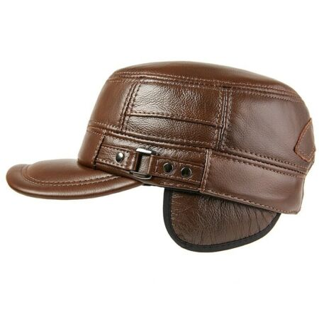 img-Men Leather Trapper Hat Baseball Cap Hunting Military Ear Flap Cadet Retro