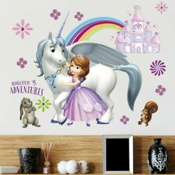 Wall Stickers For Kids Room Princess Girls Decor for Home Art Mural for Bedroom