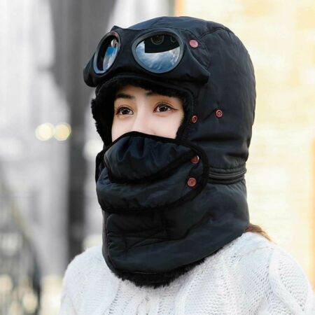 img-Winter Outdoor Cycling Warm Trapper Hat Face Mask With Goggles Windproof Cap Bib
