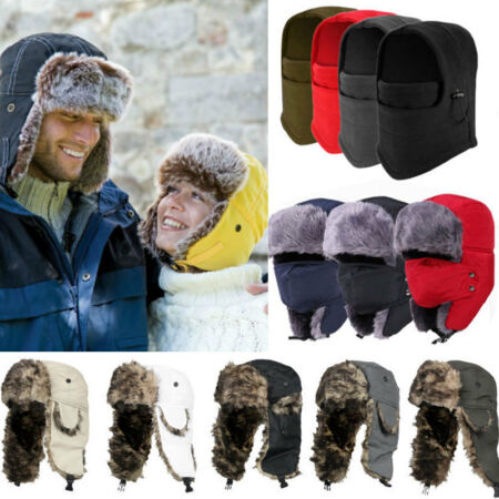 img-Men Women Winter Fur Trapper Aviator Trooper Earflap Russian Ski Hats Cap Bomber