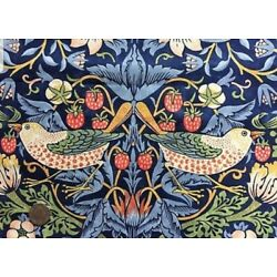 door curtain in William Morris heavy cotton fabric strawberry thief red or blue