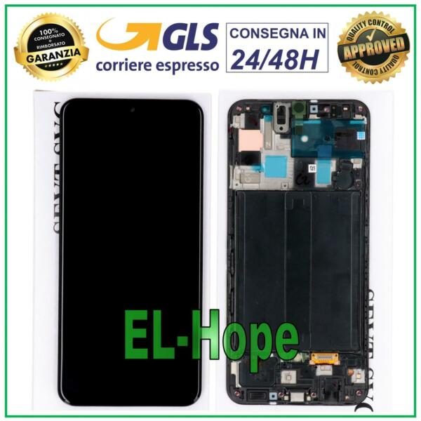 DISPLAY LCD FRAME ORIGINALE SAMSUNG GALAXY A50 SM A505F TOUCH SCREEN VETRO NERO