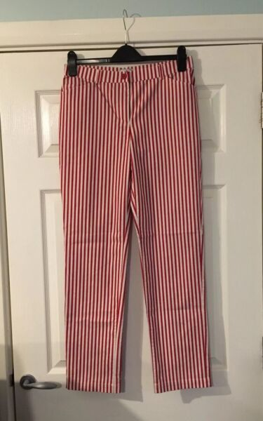 "Ladies Red & White Pinstripe Jeans / Trousers - Size 14 (32"" Waist)"