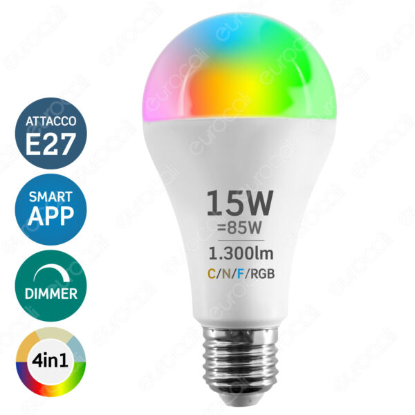 LAMPADINA LED SMART E27 15W Goccia Dimmerabile Wi-fi per Alexa Google Home •
