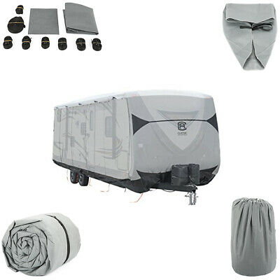 27'-30' Extra-Thick 4-Ply Camper US Travel Trailer RV Cover & 8PCS Straps