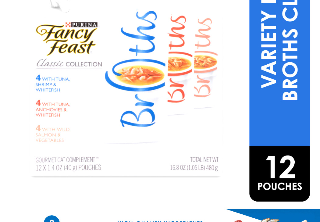 Purina Fancy Feast Broths Adult Wet Cat Food Complement Classic Variety Pack