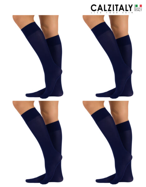 Italie4 Pairs of Microfiber Opaque Knee-High Socks, Womens Daily  40 DEN