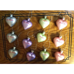 Kyпить NEW 12 GLASS CANDY HEART CONVERSATION ORNAMENTS Valentine Feather Tree Bridal на еВаy.соm