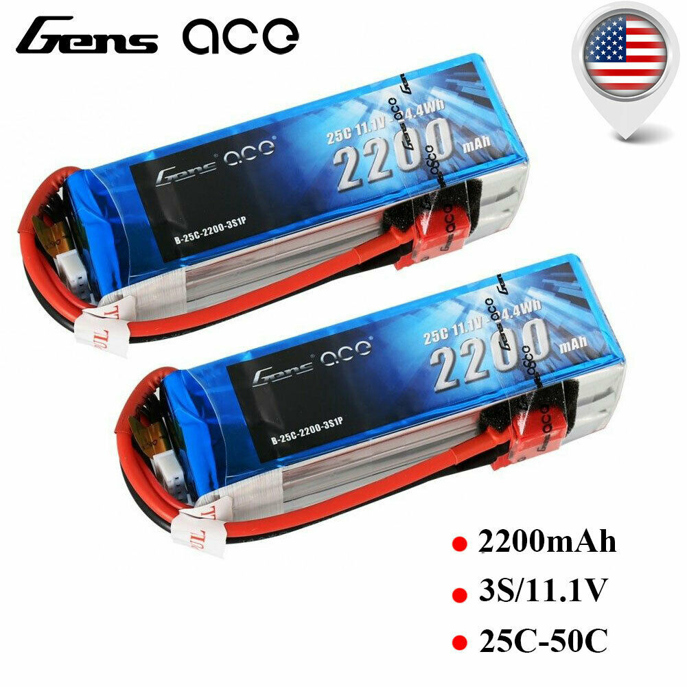 UPC 889551000109 product image for 2x Gens Ace 2200mah 25c 3s Lipo Battery 11.1v Deans T Plug For Heli Airplane Fpv | upcitemdb.com