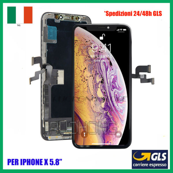 SCHERMO DISPLAY OLED PER APPLE IPHONE X 10 LCD TOUCH SCREEN CON FRAME