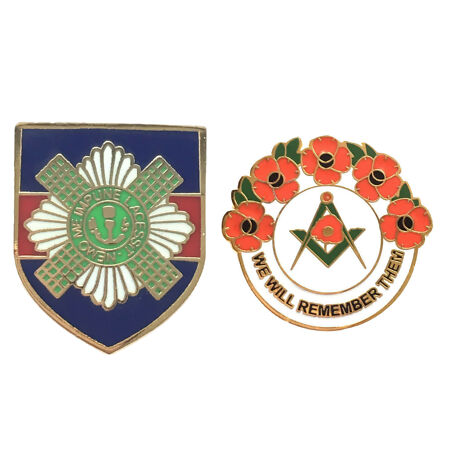 img-Scots Guards Military Badge And Masonic We Will Remember Hard Enamel Pin Badges