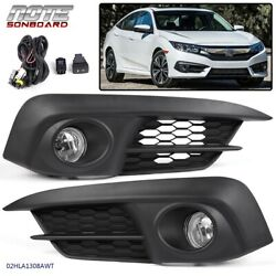 Kyпить Pair Front Fog Light Clear Lamps Switch+Bulbs For Honda Civic 2/4Dr 2016 2017 на еВаy.соm